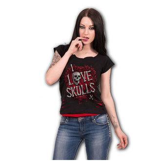 tričko dámské SPIRAL - LOVE SKULLS - Black, SPIRAL