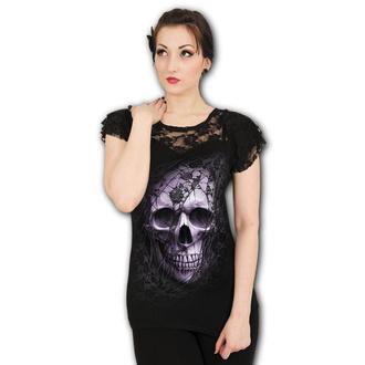 tričko dámské SPIRAL - LACE SKULL - Black, SPIRAL