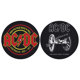 podložka na gramofon (set 2ks) AC/DC - FOR THOSE MOUT TO ROCK - HIGH VOLTAGE - RAZAMATAZ, RAZAMATAZ, AC-DC