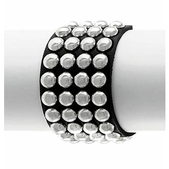 náramek BLACK SNAKE ROUND RIVETS 4 ROWS, Leather & Steel Fashion