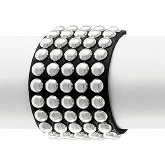 náramek BLACK SNAKE ROUND RIVETS 5 ROWS, Leather & Steel Fashion