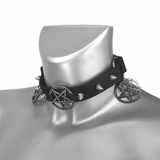 obojek kolem krku (postroj na botu) Triple Pentagram Classic Boot Strap, Leather & Steel Fashion