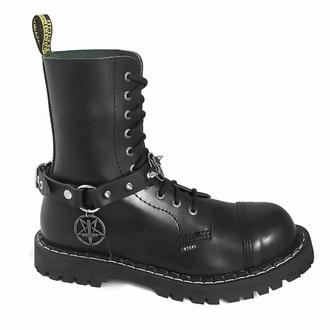 obojek kolem krku (postroj na botu) Triple Pentagram Sacrifice Boot Strap, Leather & Steel Fashion