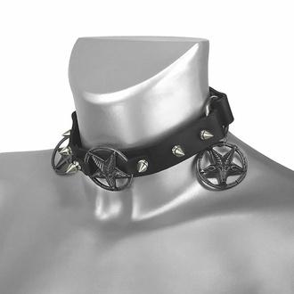obojek kolem krku (postroj na botu) Triple Baphomet Cult Boot Strap, Leather & Steel Fashion