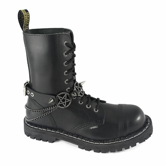 obojek kolem krku (postroj na botu) Triple Chain Pentagram Boot Strap, Leather & Steel Fashion