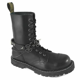 obojek kolem krku (postroj na botu) Triple Chain Inverted Cross Boot Strap, Leather & Steel Fashion