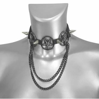 obojek kolem krku (postroj na botu) Triple Chain Baphomet Boot Strap, Leather & Steel Fashion