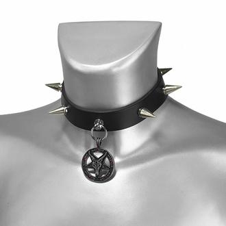 obojek BAPHOMET RED CRYSTAL SPIKE LEATHER CHOKER , Leather & Steel Fashion