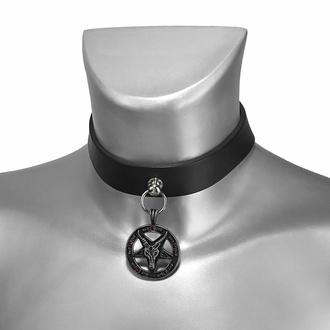 obojek BAPHOMET RED CRYSTAL LEATHER CHOKER , Leather & Steel Fashion