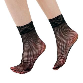 ponožky (punčochové) PAMELA MANN - Lace Trim - Black, PAMELA MANN