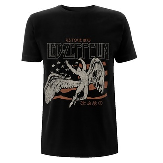 tričko pánské Led Zeppelin - US 1975 Tour Flag - Black, NNM, Led Zeppelin