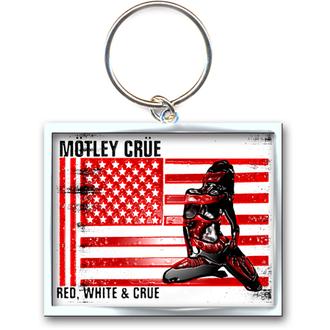 klíčenka - přívěšek Mötley Crüe (Red, White & Crue Logo) - ROCK OFF, ROCK OFF, Mötley Crüe