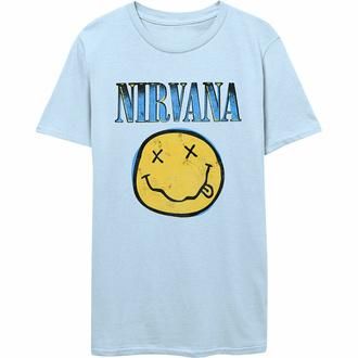 tričko pánské Nirvana - Xerox Smiley - BLUE - ROCK OFF, ROCK OFF, Nirvana