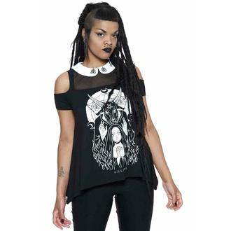tričko dámské KILLSTAR - Nunsense Collar Cold Shoulder Top - Black, KILLSTAR
