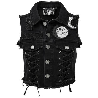 vesta dámská KILLSTAR - PHASED OUT DENIM - BLACK, KILLSTAR