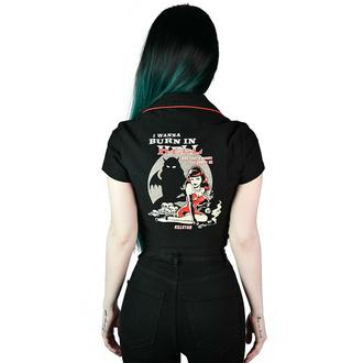 košile dámská KILLSTAR - She Devil - Crop Bowling - Black, KILLSTAR