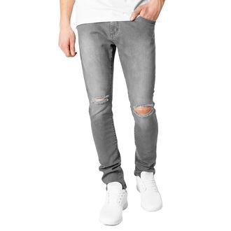 kalhoty pánské URBAN CLASSICS - Slim Fit Knee Cut Denim - TB1652_grey