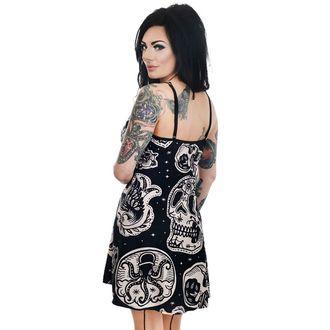 šaty dámské TOO FAST- PATCHWORK TATTOO & SKULL PRINT GINGER SKATER, TOO FAST