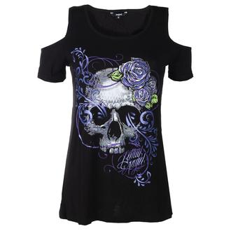 tričko dámské LETHAL THREAT - ANGEL PURPLE SKULL - BLACK, LETHAL THREAT