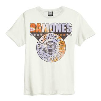 tričko pánské RAMONES - TIE DYE SHIELD - VINTAGE WHITE - AMPLIFIED, AMPLIFIED, Ramones