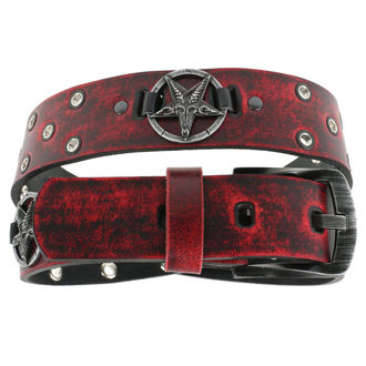 pásek Baphomet - red, JM LEATHER