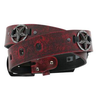 pásek Baphomet - red, JM LEATHER