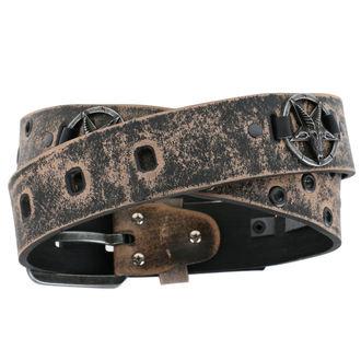 pásek Baphomet - brown, Leather & Steel Fashion