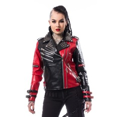 bunda dámská (křivák) Heartless - ASYLUM BIKER - BLACK/RED, HEARTLESS