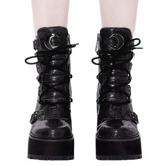 boty dámské KILLSTAR - Broom Rider Boots - BLACK GLITTER, KILLSTAR