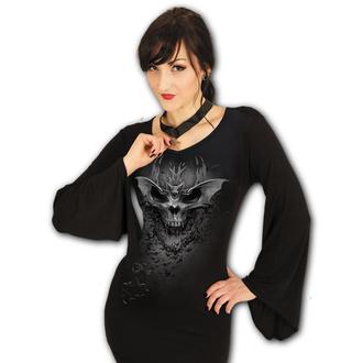 tričko dámské s dlouhým rukávem SPIRAL - BAT SKULL - Black, SPIRAL