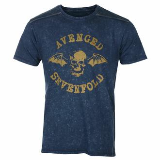 tričko pánské Avenged Sevenfold - Logo Snow Wash - NAVY - ROCK OFF, ROCK OFF, Avenged Sevenfold