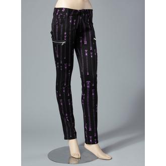 kalhoty dámské HELL BUNNY - Zipper Skinny Jeans (Purple), HELL BUNNY