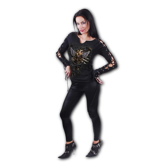 tričko dámské s dlouhým rukávem SPIRAL - STEAM PUNK RIPPED - Black, SPIRAL