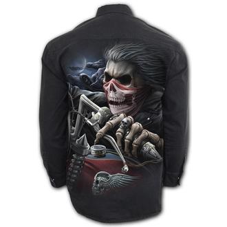 košile pánská s dlouhým rukávem SPIRAL - SOUL RIDER - Black, SPIRAL