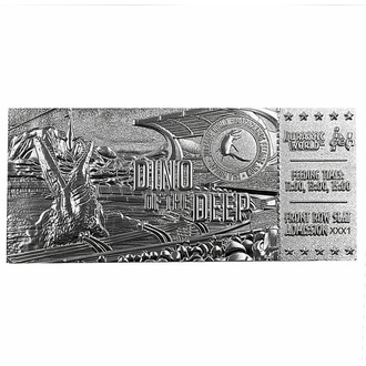dekorace Jurský svět - Replica Mosasaurus Ticket - silver plated, NNM, Jurský svět