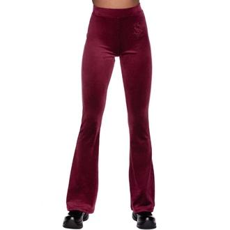 kalhoty dámské KILLSTAR - Lounge Lizard Velvet Flares - BURGUNDY, KILLSTAR