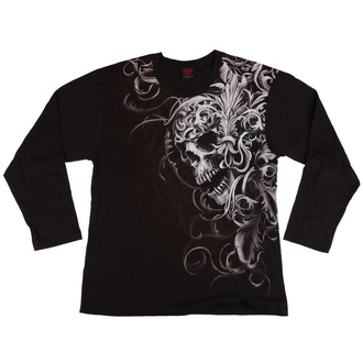 tričko pánské s dlouhým rukávem SPIRAL - SKULL SHOULDER WRAP - Black - POŠKOZENÉ - MA508
