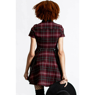 šaty dámské KILLSTAR - Menace Collar - BLOOD TARTAN, KILLSTAR