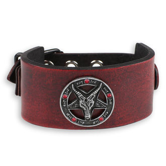 náramek Baphomet - red -  krystal red, Leather & Steel Fashion