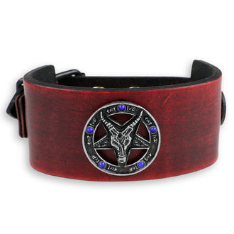 náramek Baphomet - red -  krystal blue, Leather & Steel Fashion