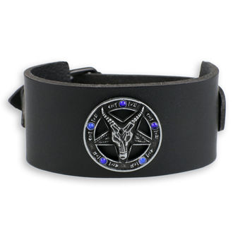 náramek Baphomet - black - krystal blue, JM LEATHER