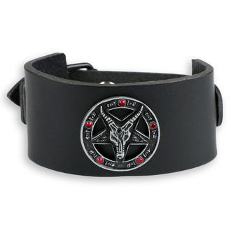 náramek Baphomet - black - krystal red, JM LEATHER