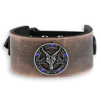náramek Baphomet - brown - krystal blue, JM LEATHER