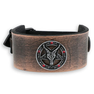 náramek Baphomet - brown - krystal red, Leather & Steel Fashion