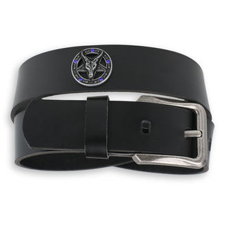 pásek Baphomet - Black krystal - blue, JM LEATHER