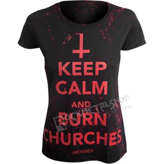 tričko dámské AMENOMEN - KEEP CALM AND BURN CHURCHES - RED, AMENOMEN