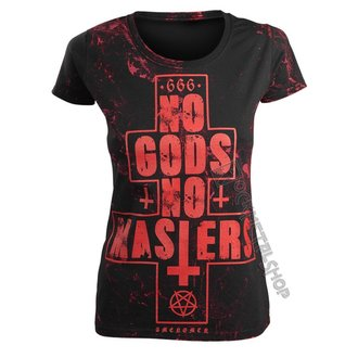 tričko dámské AMENOMEN - NO GODS NO MASTERS - RED, AMENOMEN