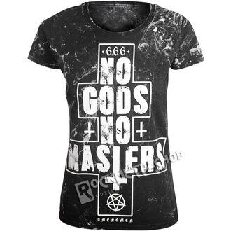 tričko dámské AMENOMEN - NO GODS NO MASTERS - WHITE, AMENOMEN