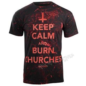 tričko pánské AMENOMEN - KEEP CALM AND BURN CHURCHES - RED, AMENOMEN