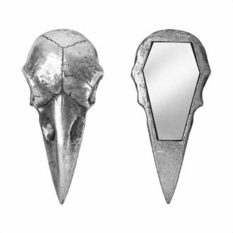 dekorace (zrcátko) ALCHEMY GOTHIC - Raven Skull - Silver, ALCHEMY GOTHIC